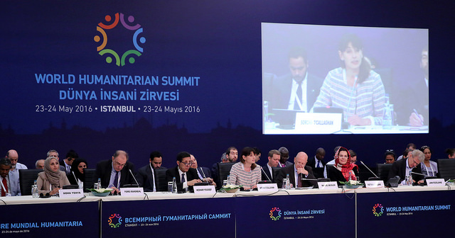 A panel of several men and women representing numerous countries during the World Humanitarian Summit