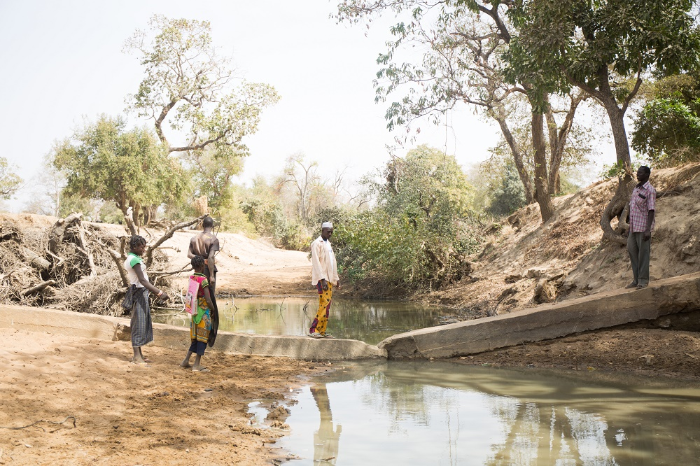 Four people stand by a river. Two are crossing over a makeshift bridge.