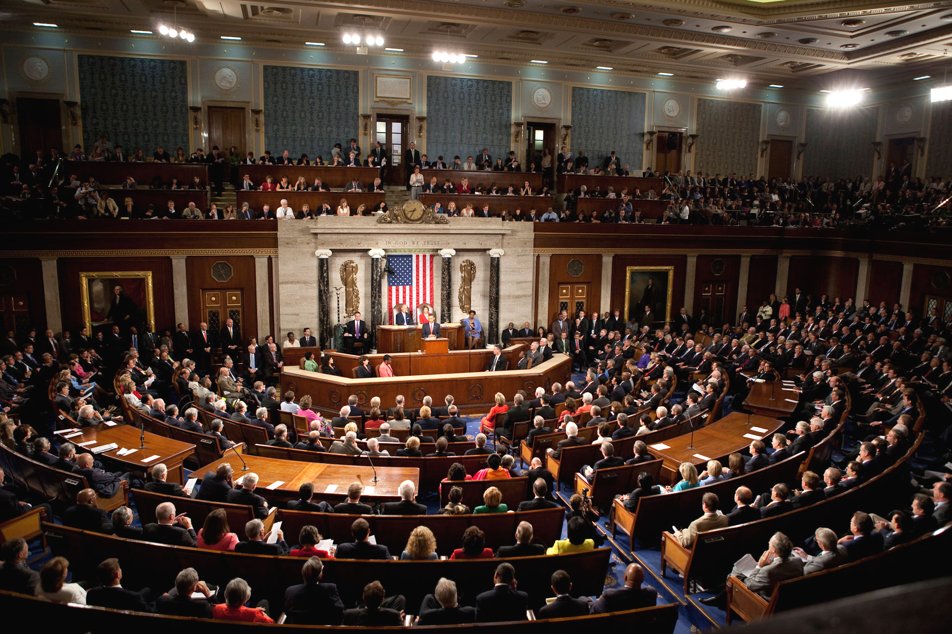 President Barack Obama delivers a health care address to a joint session of Congress at the United States Capitol in Washington, D.C., Sept. 9, 2009. (Official White House Photo by Lawrence Jackson) This official White House photograph is being made available only for publication by news organizations and/or for personal use printing by the subject(s) of the photograph. The photograph may not be manipulated in any way and may not be used in commercial or political materials, advertisements, emails, products, promotions that in any way suggests approval or endorsement of the President, the First Family, or the White House.
