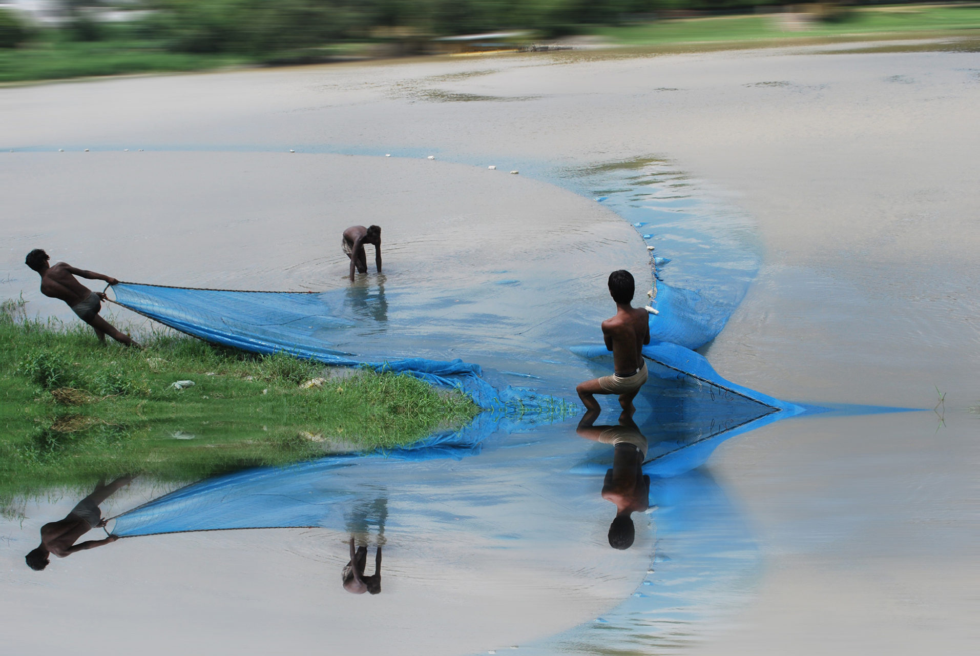 Two men pull a blue fishing net out of the water