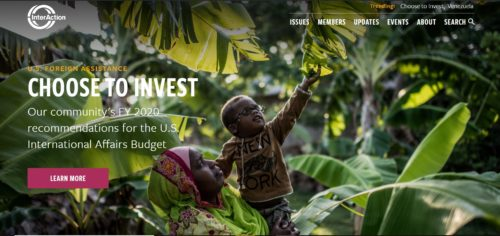 screenshot of interaction homepage: woman holding male child as he reaches for a tree branch. Text overlay on the photo that reads Choose to Invest