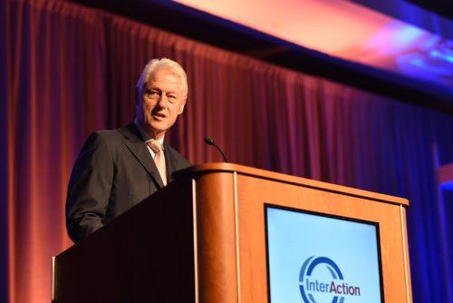 President Clinton at a podium.